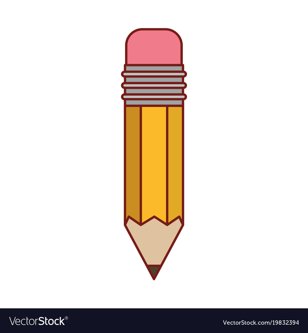Pencil design tool in colorful silhouette with