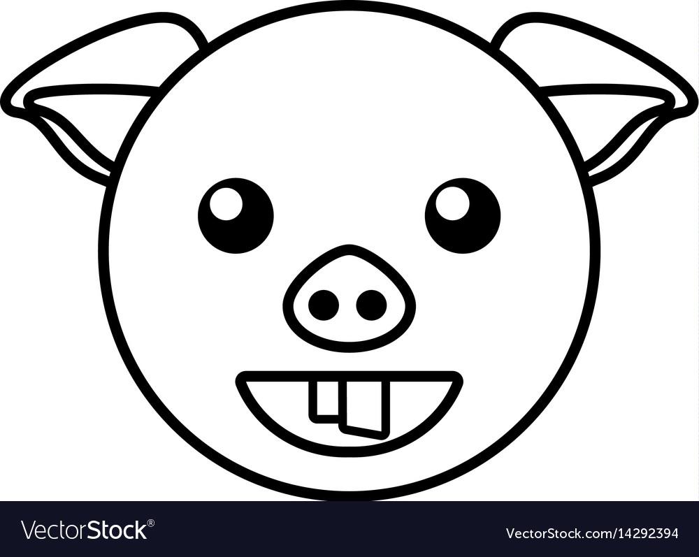 Pig face animal outline