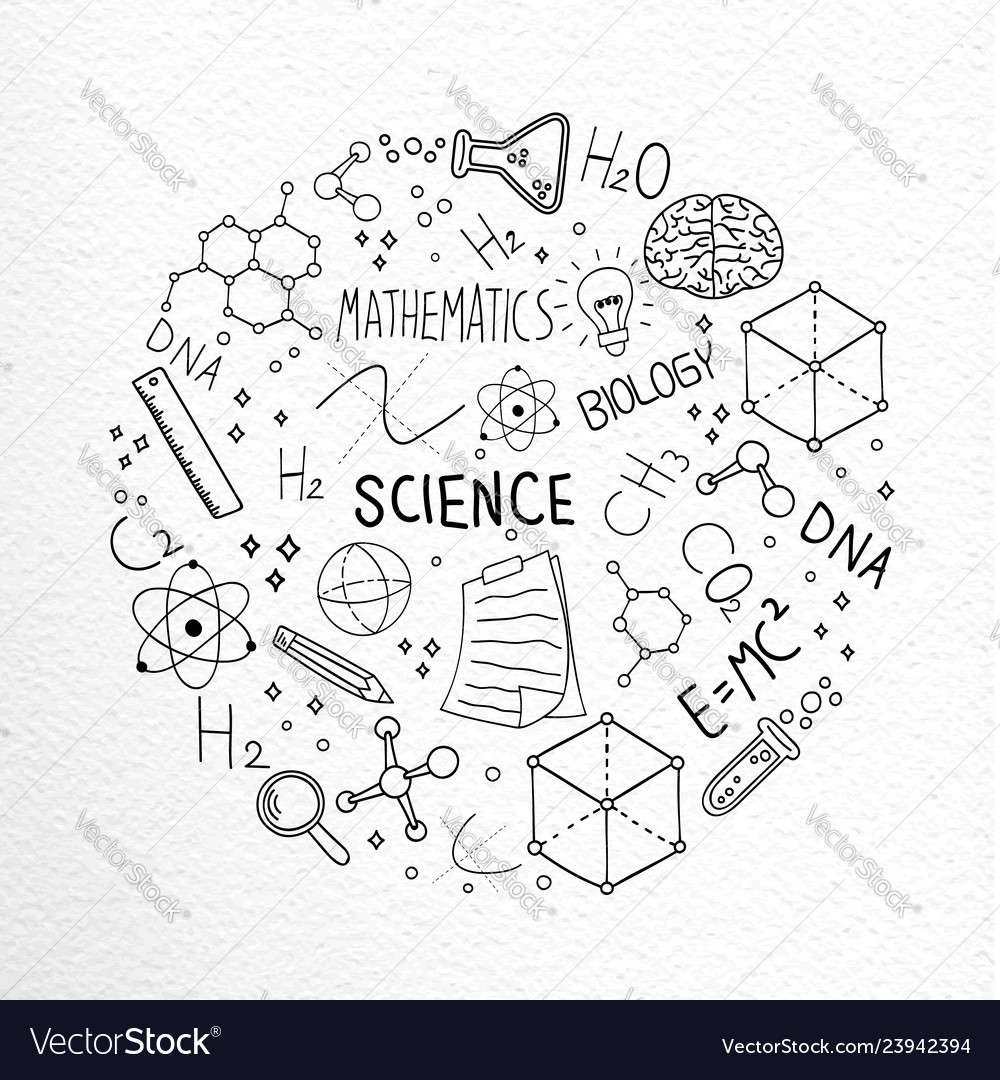 Science hand drawn doodle icons concept