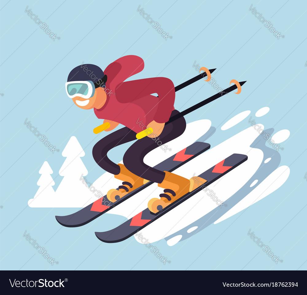 Smiling cartoon skiing downhill