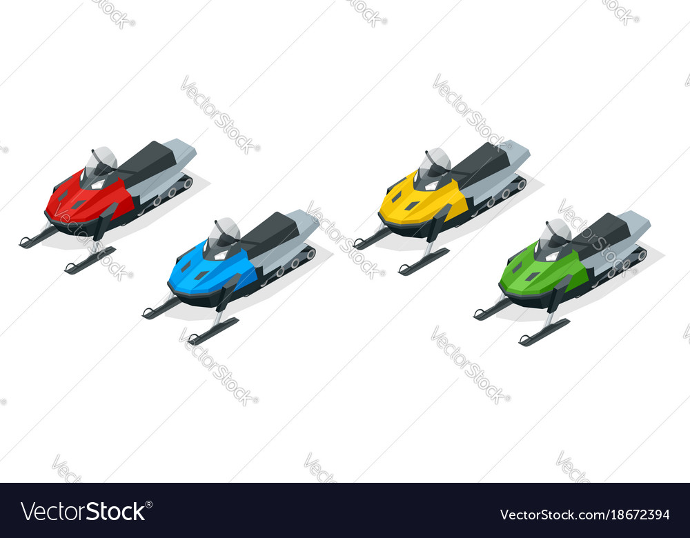 Snowmobiles set isolated on white background