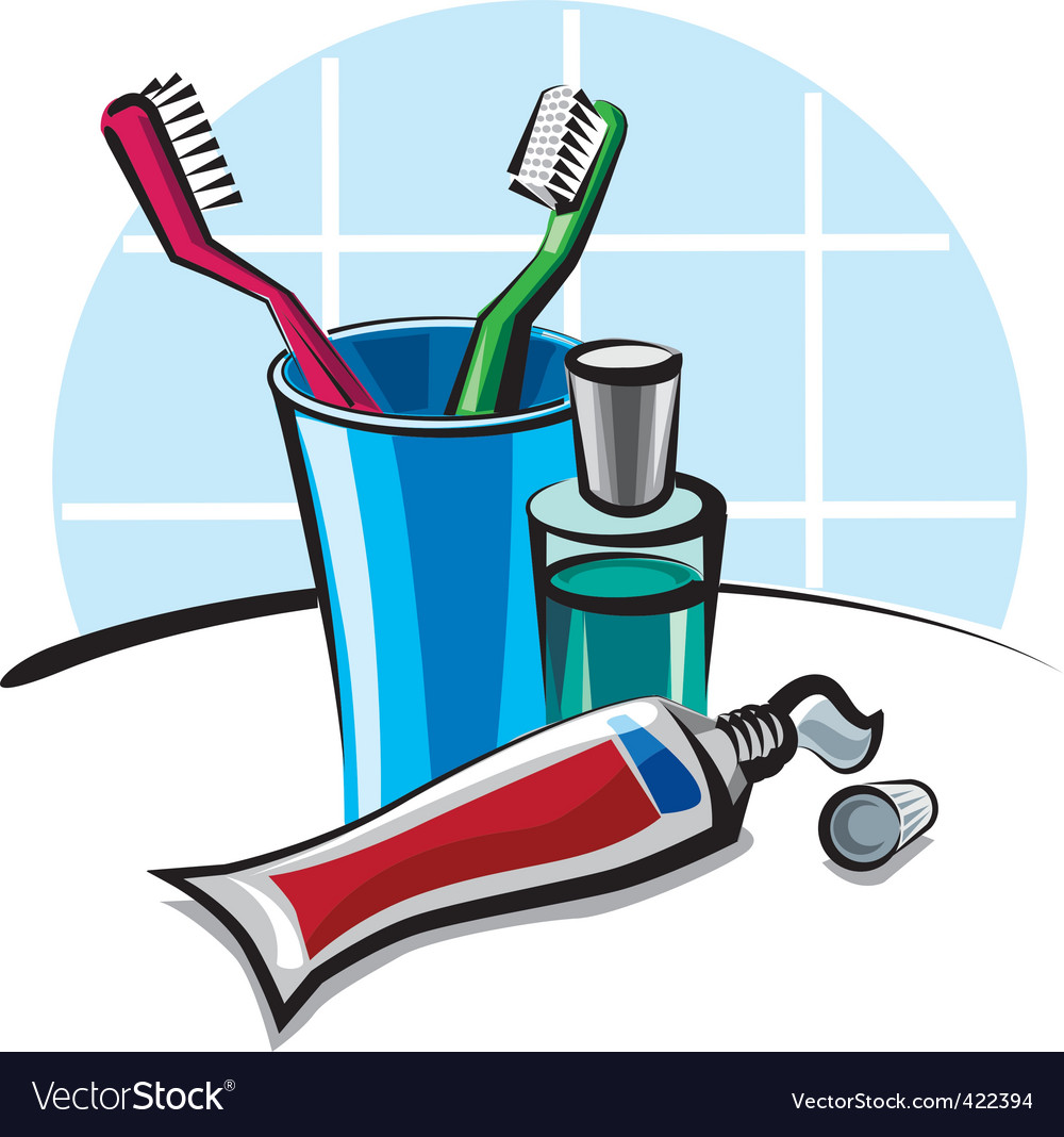 Toothpaste and toothbrush Royalty Free Vector Image