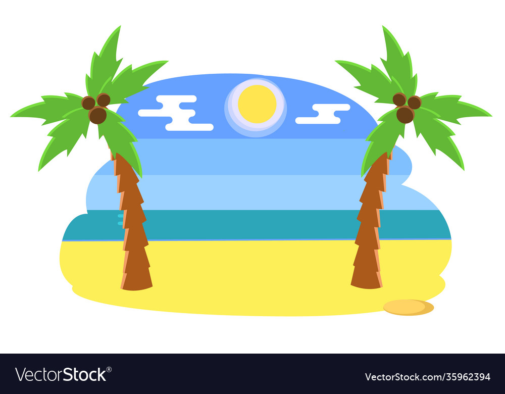 Tropical beach with palms coconut trees on a hot