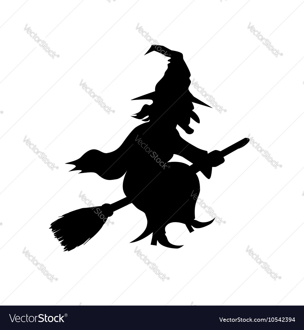 Witch Flying on Broomstick Template Royalty Free Vector