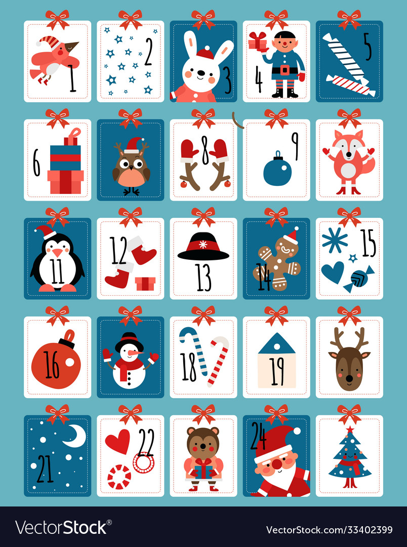 Advent calendar winter christmas numbers cute