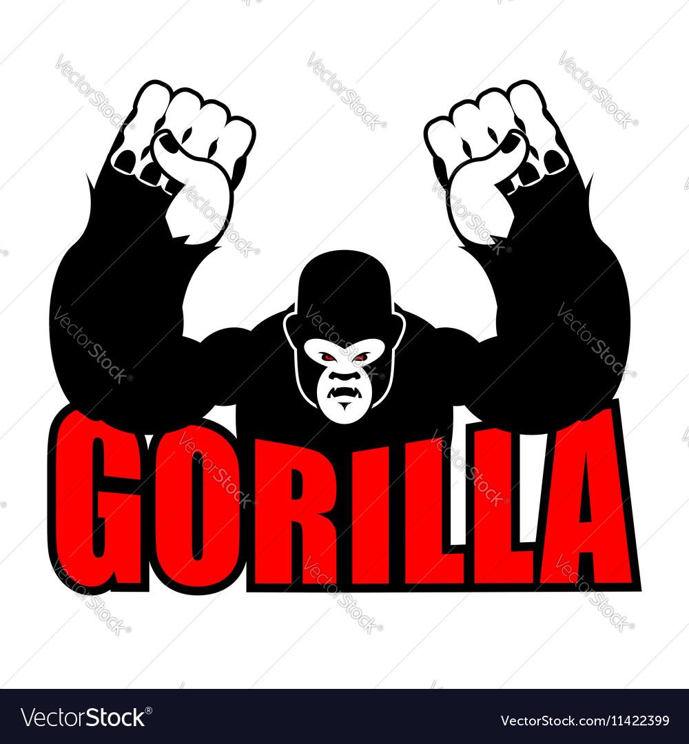 Angry gorilla Aggressive big monkey irritated wild