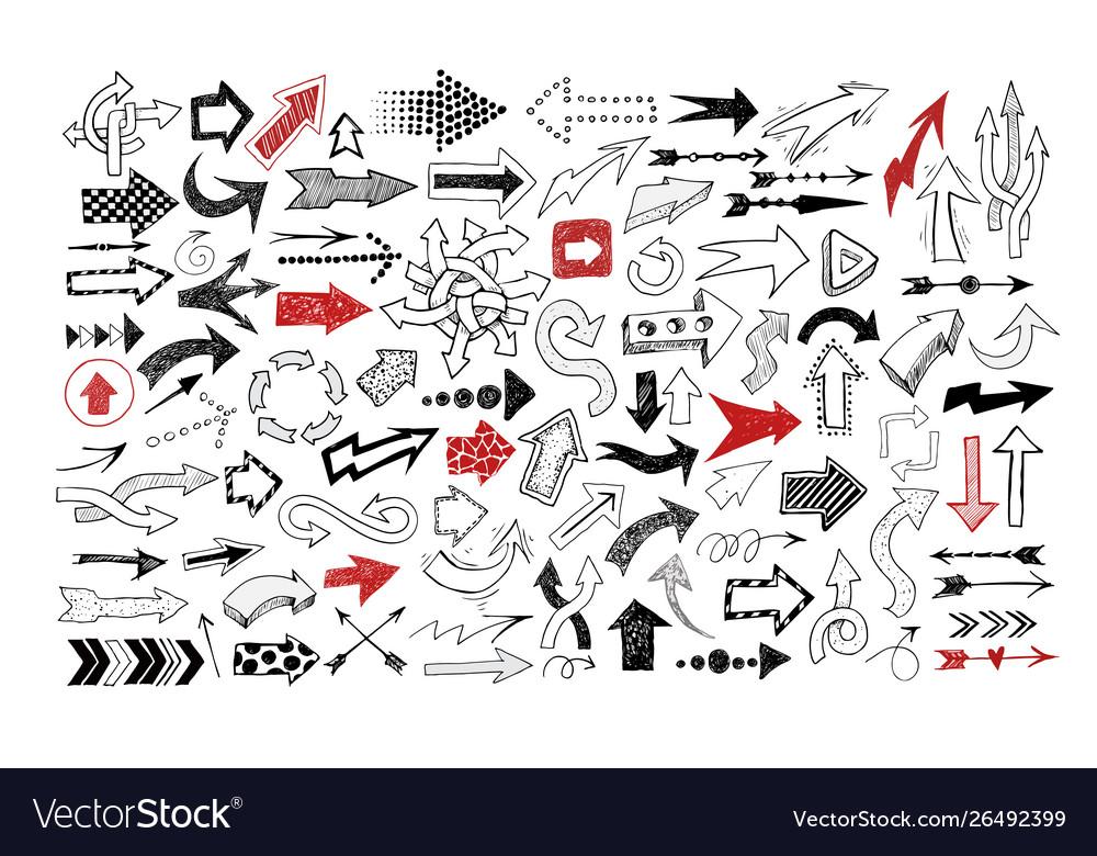 Big collection doodle sketch arrows