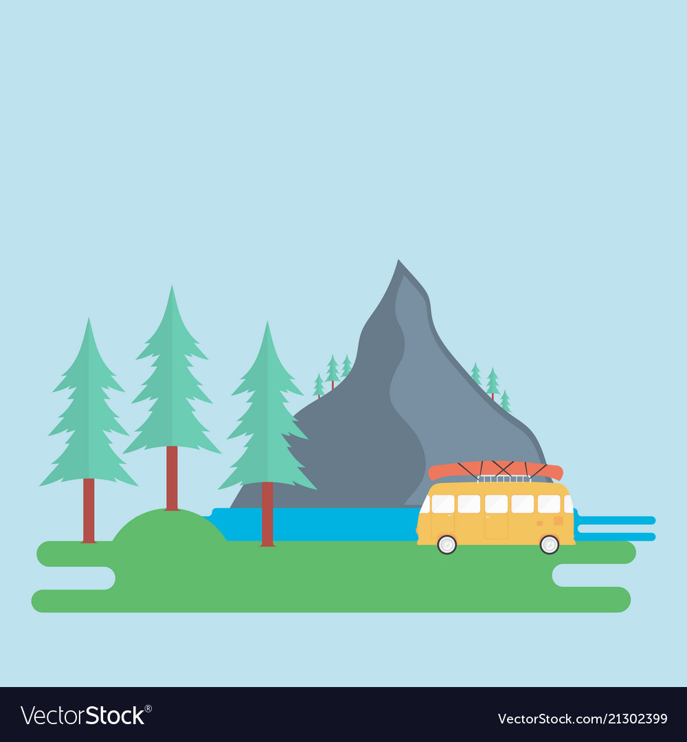 Landscape with a mountain forest and a camping