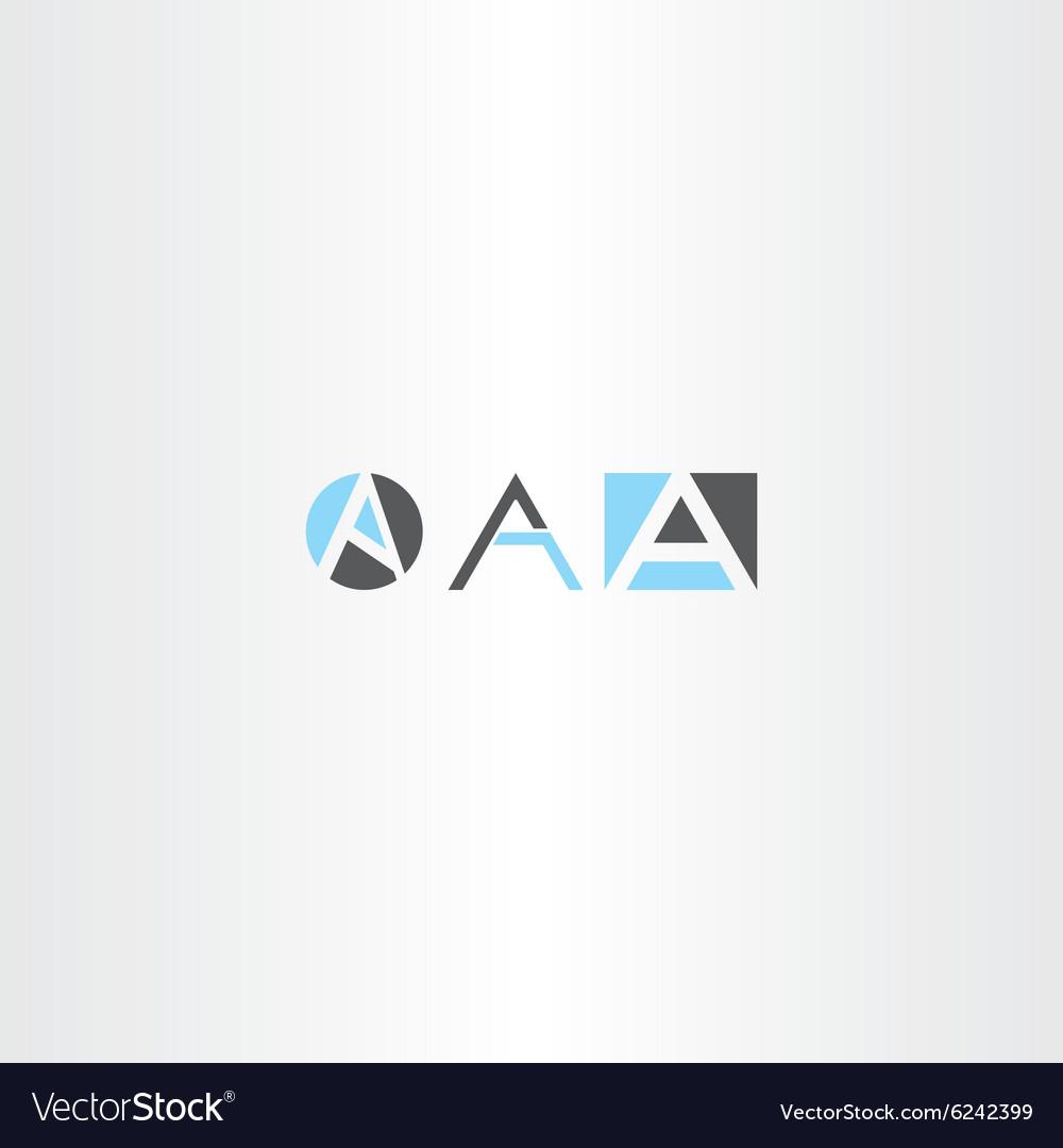 Letter a logo set gray blue icon