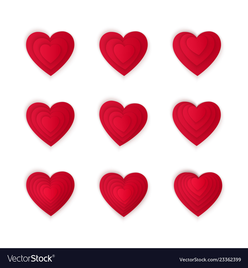 Paper art cartoon red heart shape set valentines