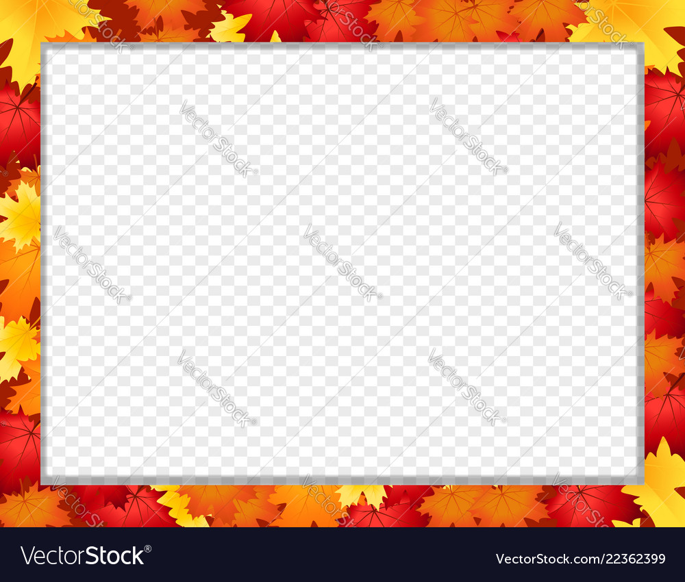 Photo frame with fallen autumn maple leaves