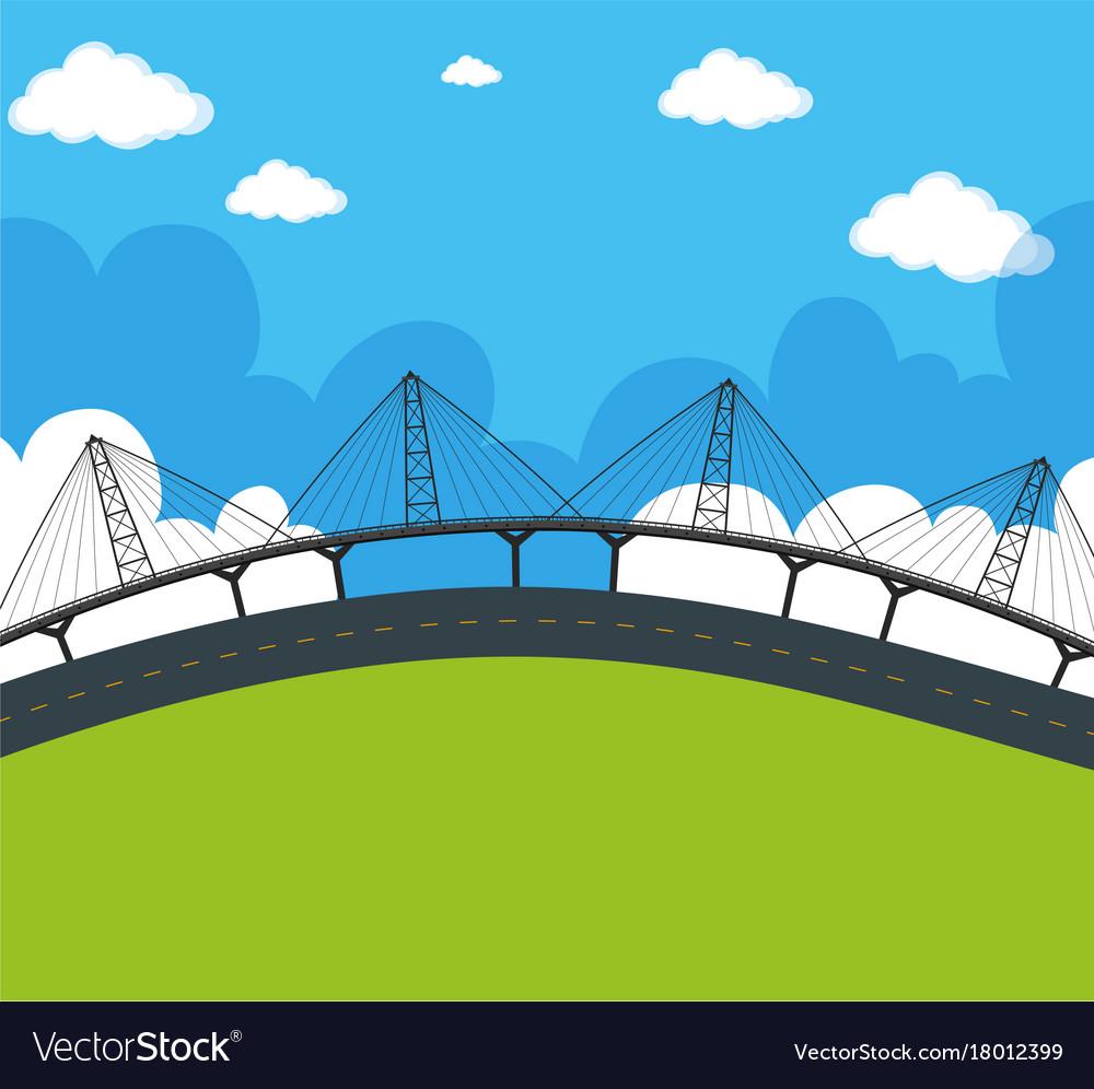 Scene With Empty Road And Bridge Vector Image