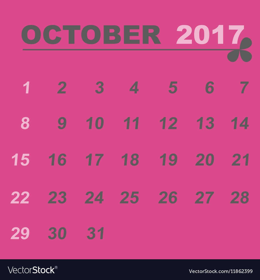 Simple Calendar Template Of October 2017 Vector Image