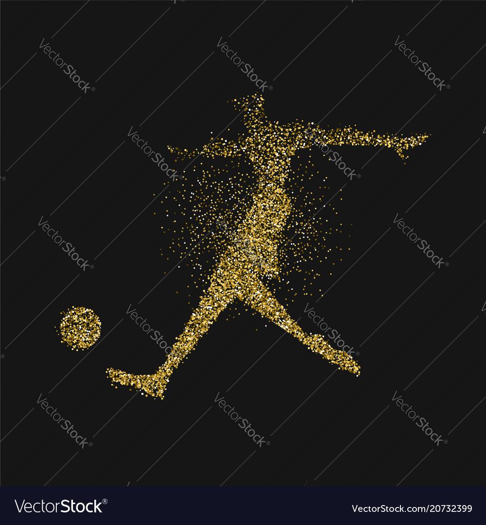 Soccer player silhouette in gold glitter splash