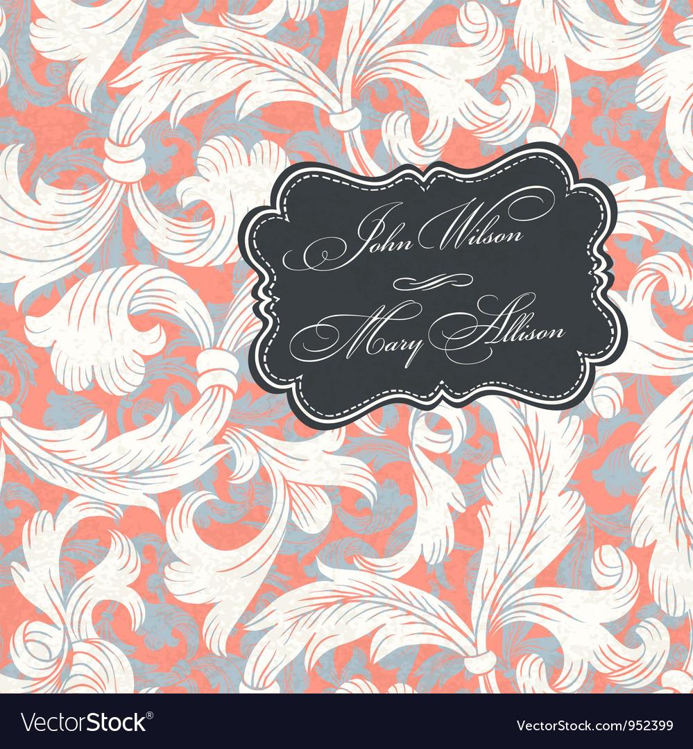 Vintage styled wedding invitation vector image