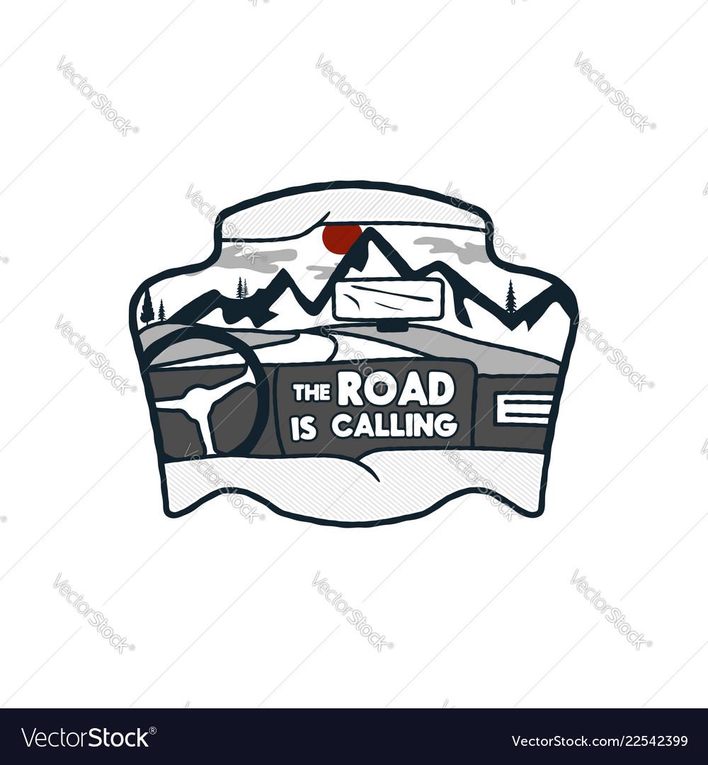 Wanderlust logo emblem road trip badge vintage