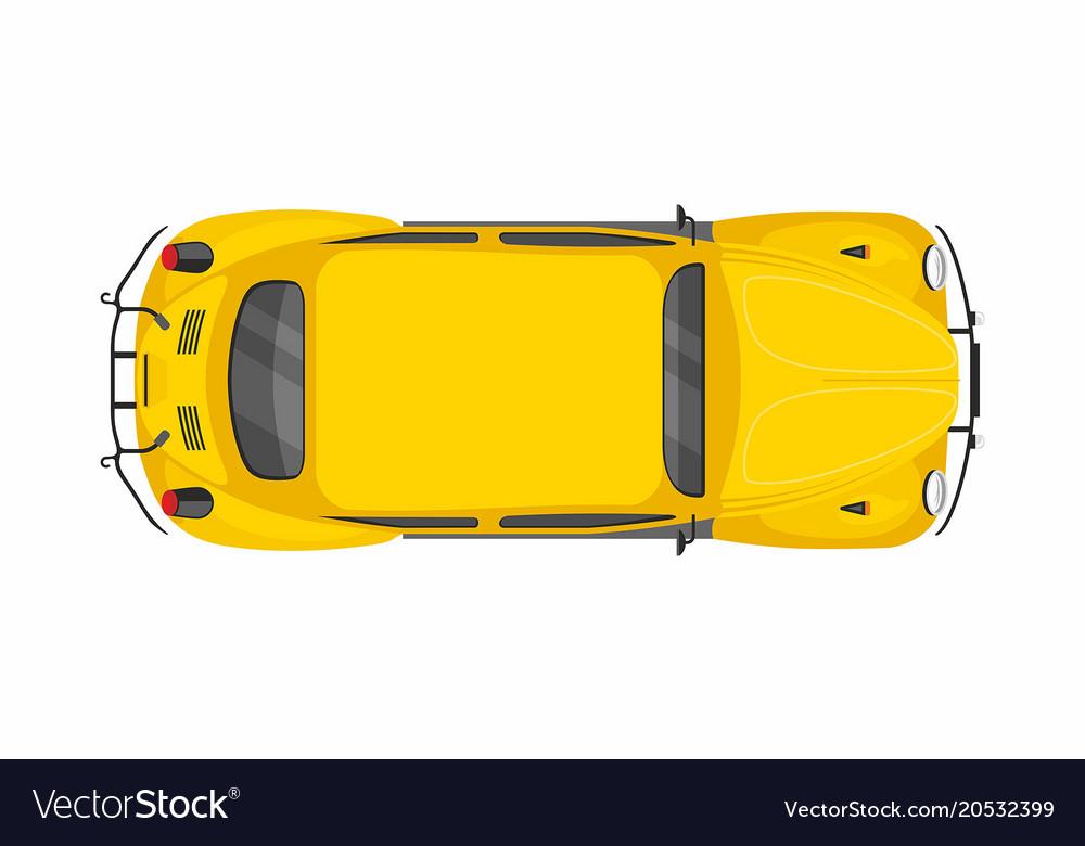 Yellow retro car top view