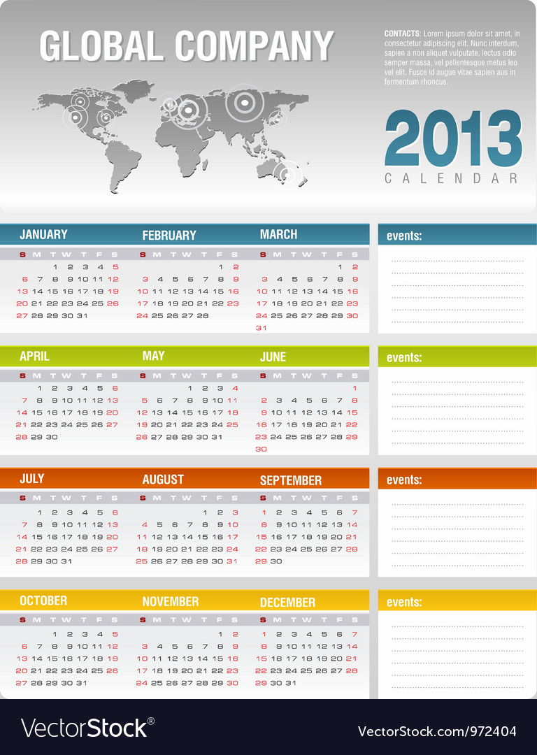2013 Corporate Calendar Template Royalty Free Vector Image