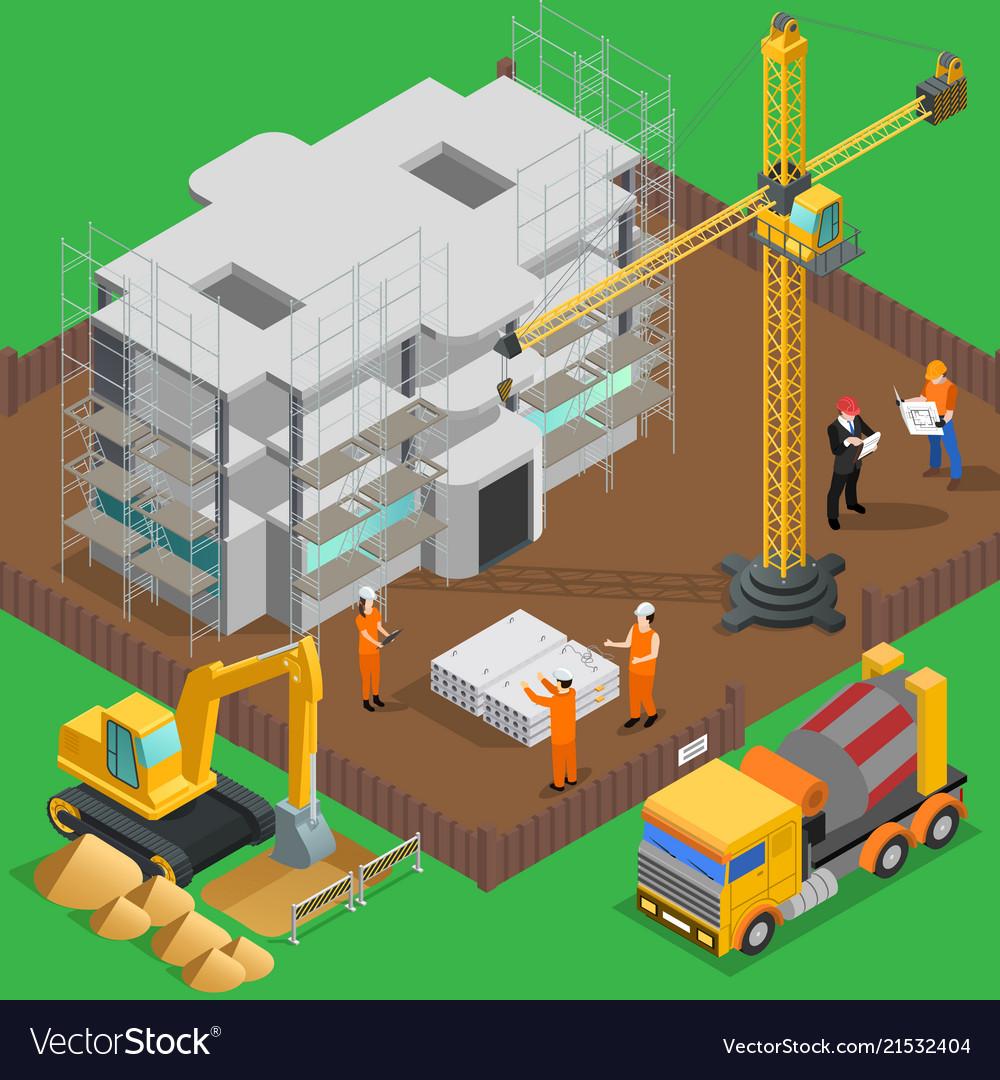 Construction site isometric composition