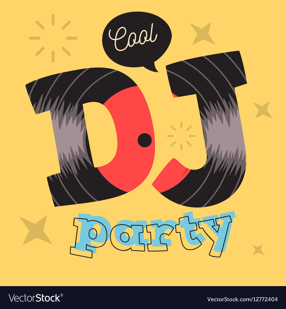 DJ Cool Party Poster Design With Vinyl Record