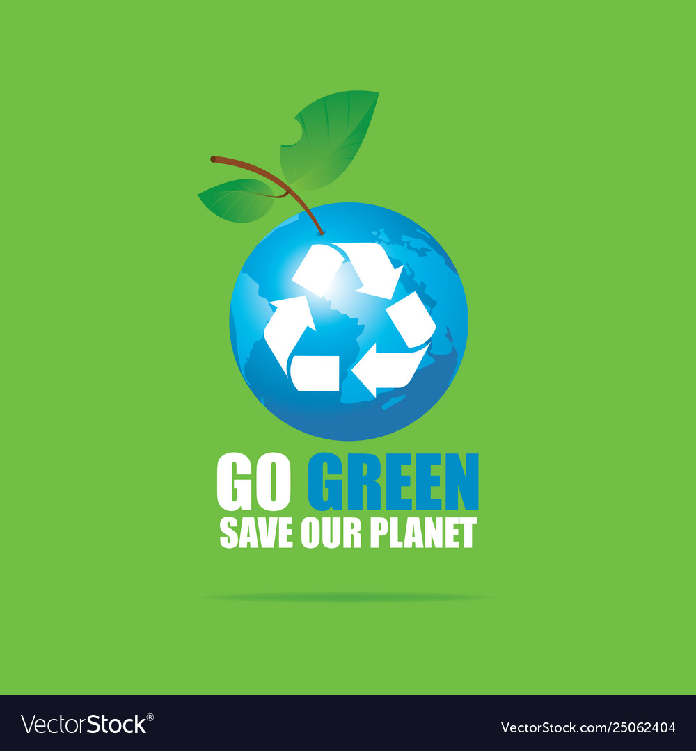 Eco banner with planet earth and words go green