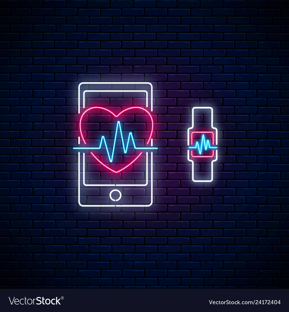 Glowing neon sign of healthy mobile app heart