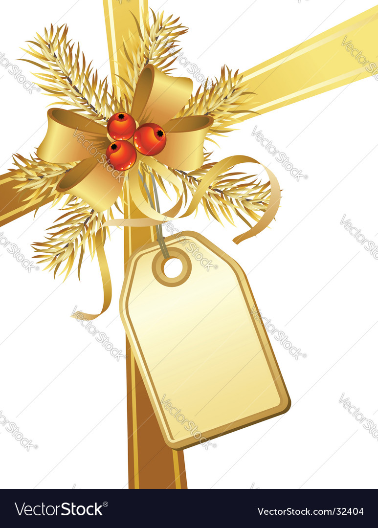 Golden christmas bow and tag