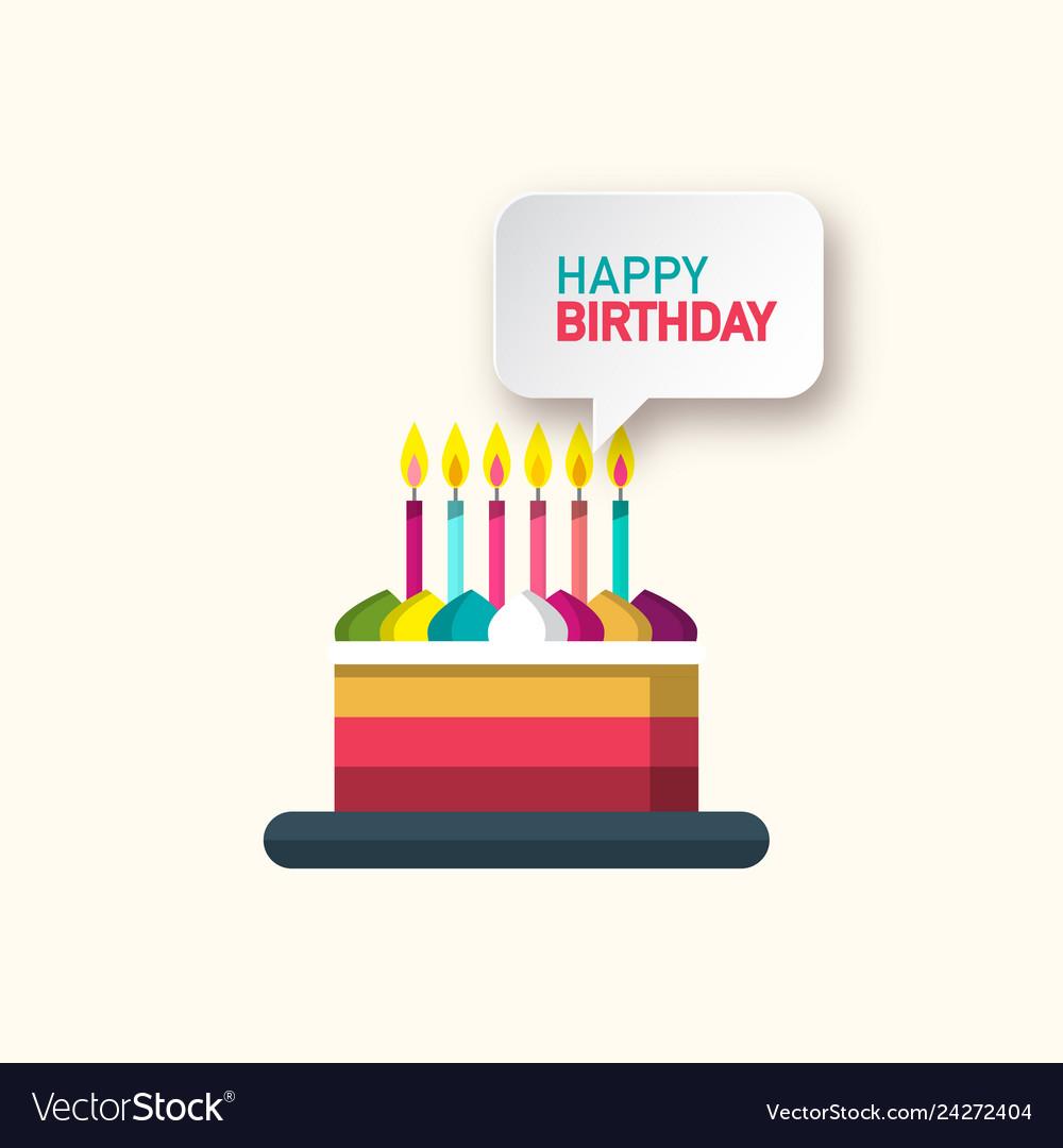 Happy birthday symbol with cake and speech bubble