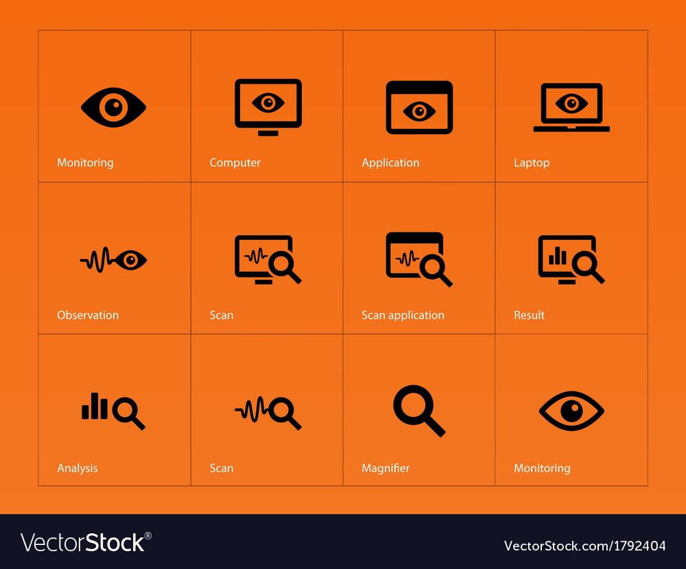 Monitoring icons on orange background