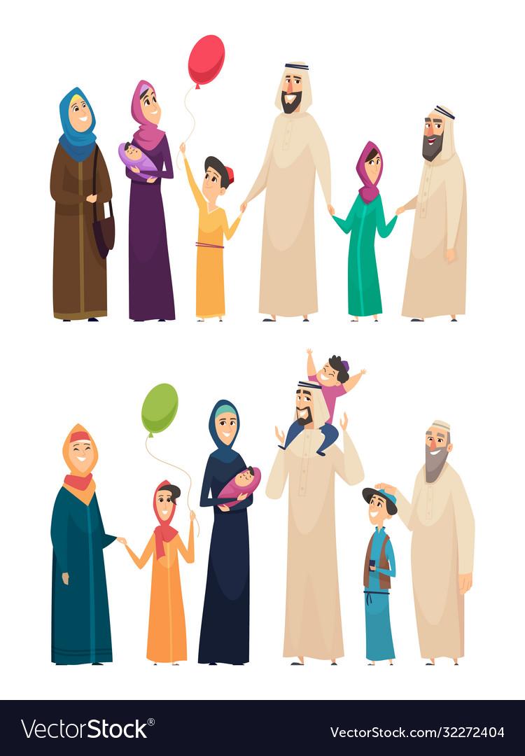 Muslim family big arabic happy family saudi