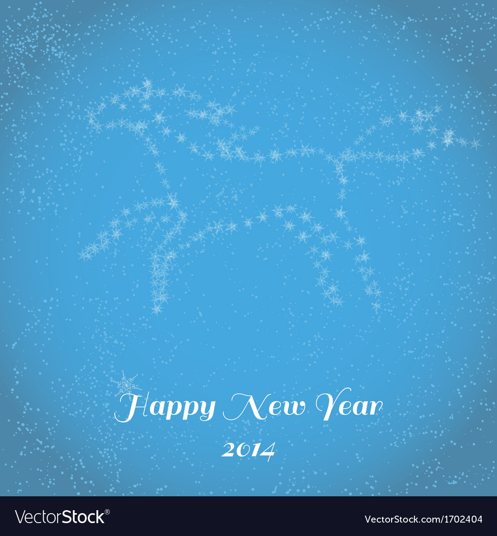 New Year greeting card with running horse