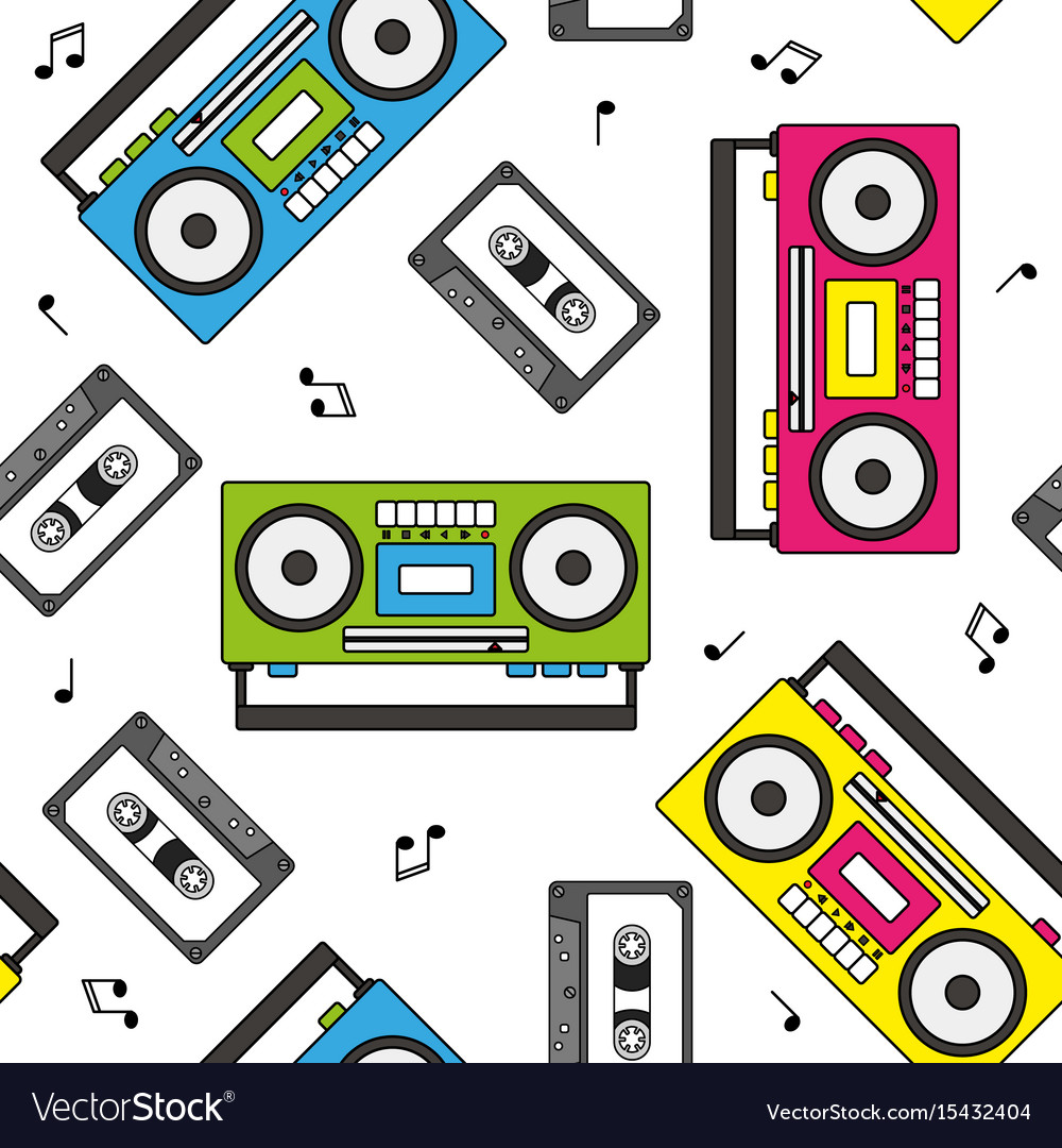 Retro cassette and radio recorder seamless pattern