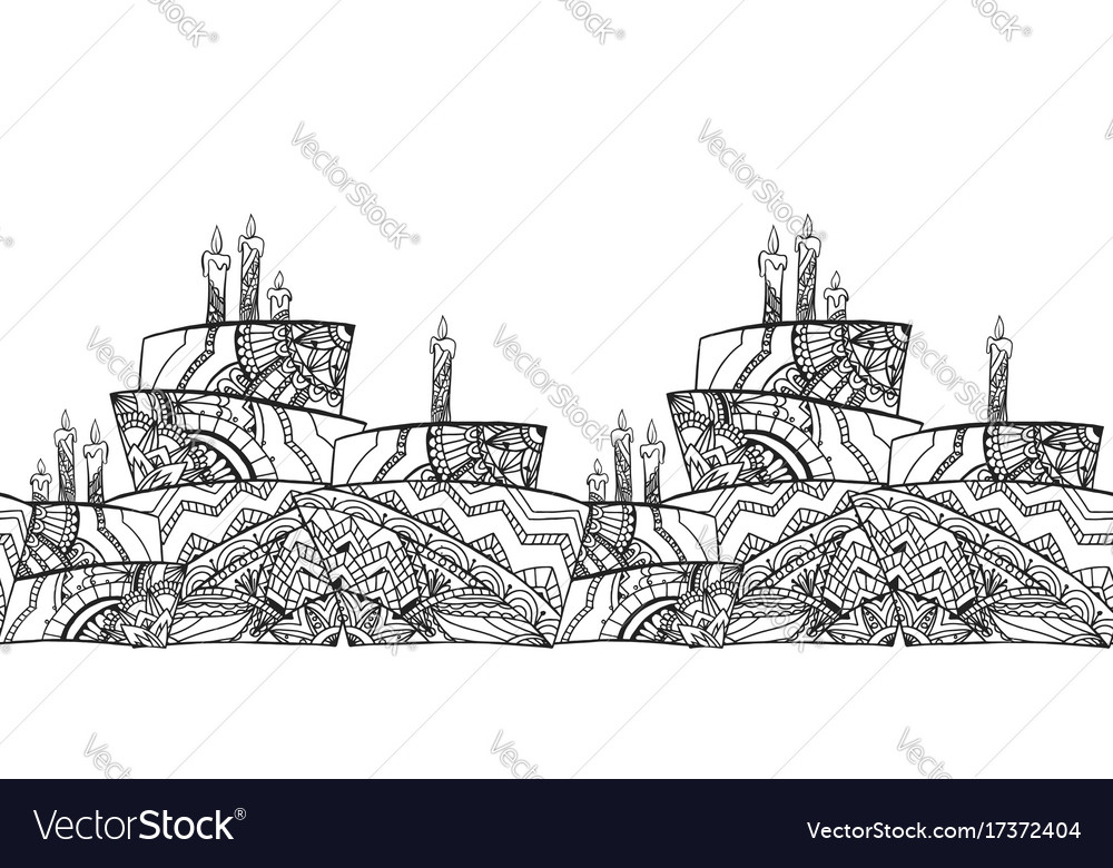 Seamless black and white border with cake