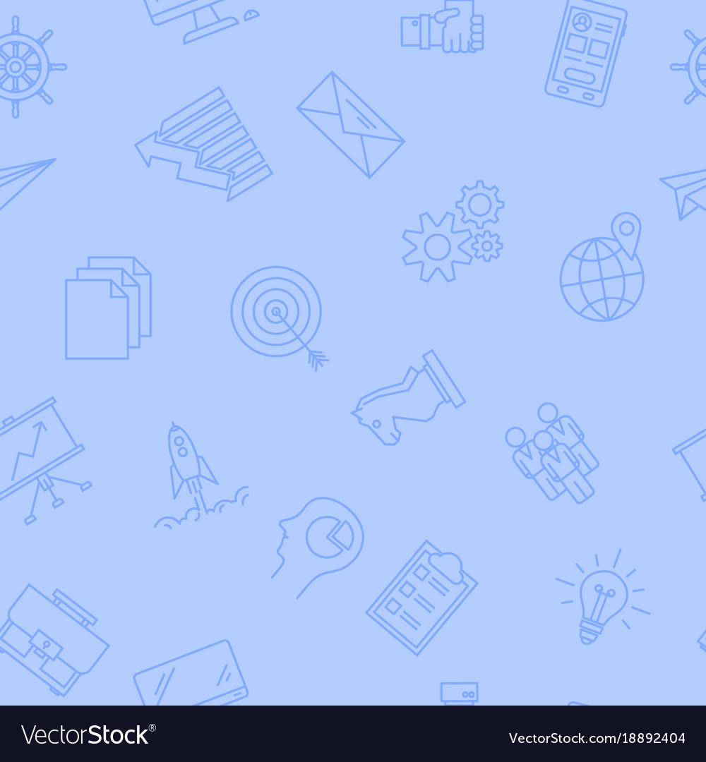 Seamless pattern on light blue - business icons