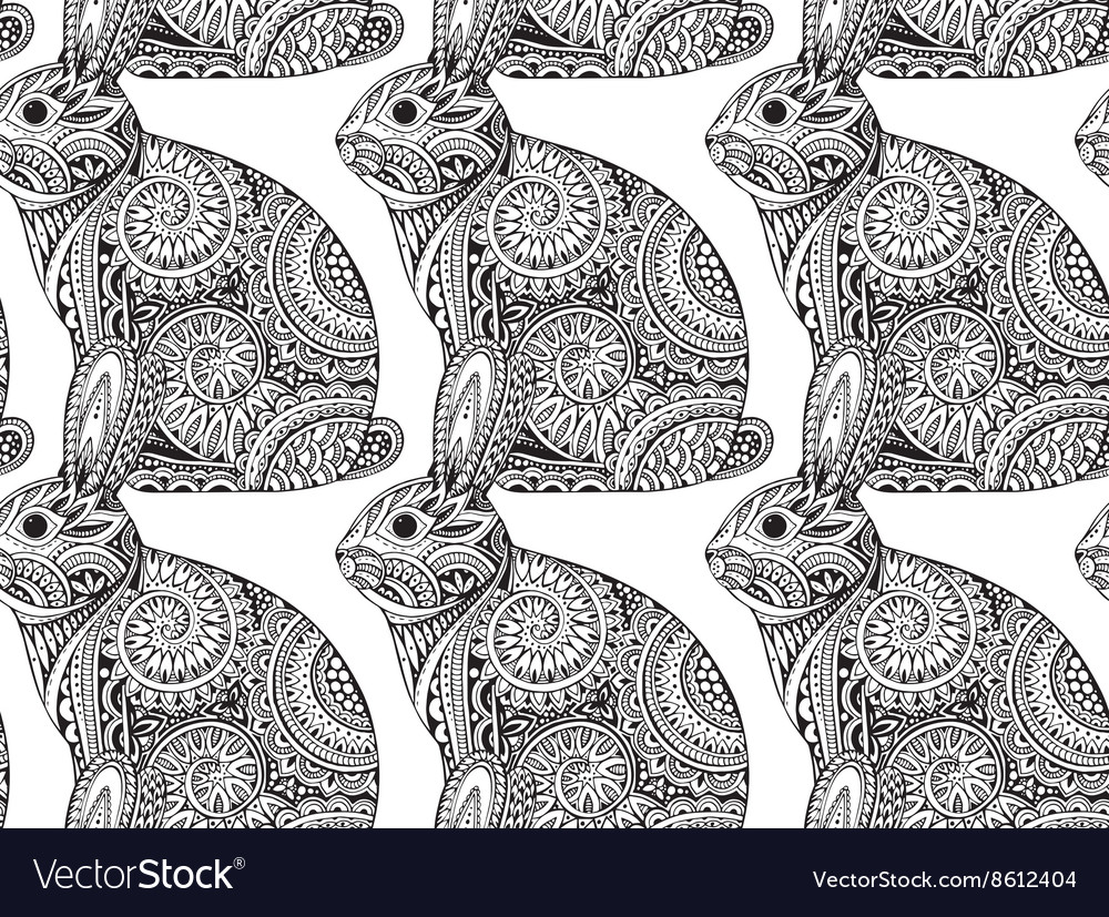 Seamless pattern with hand drawn graphic ornate