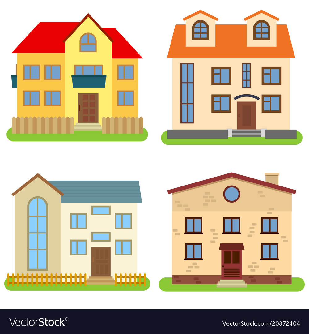 Set of four private houses on a white background