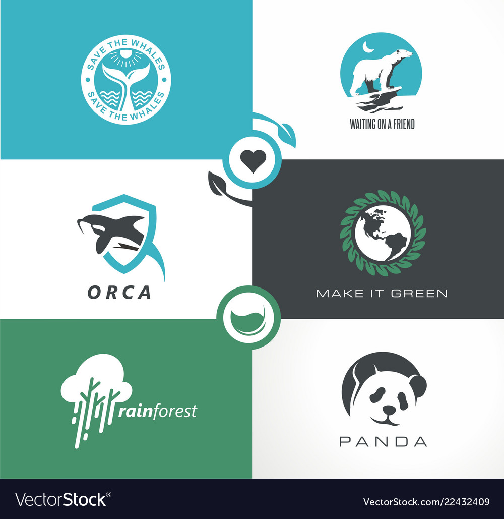 Abstract logo collection with wild animals