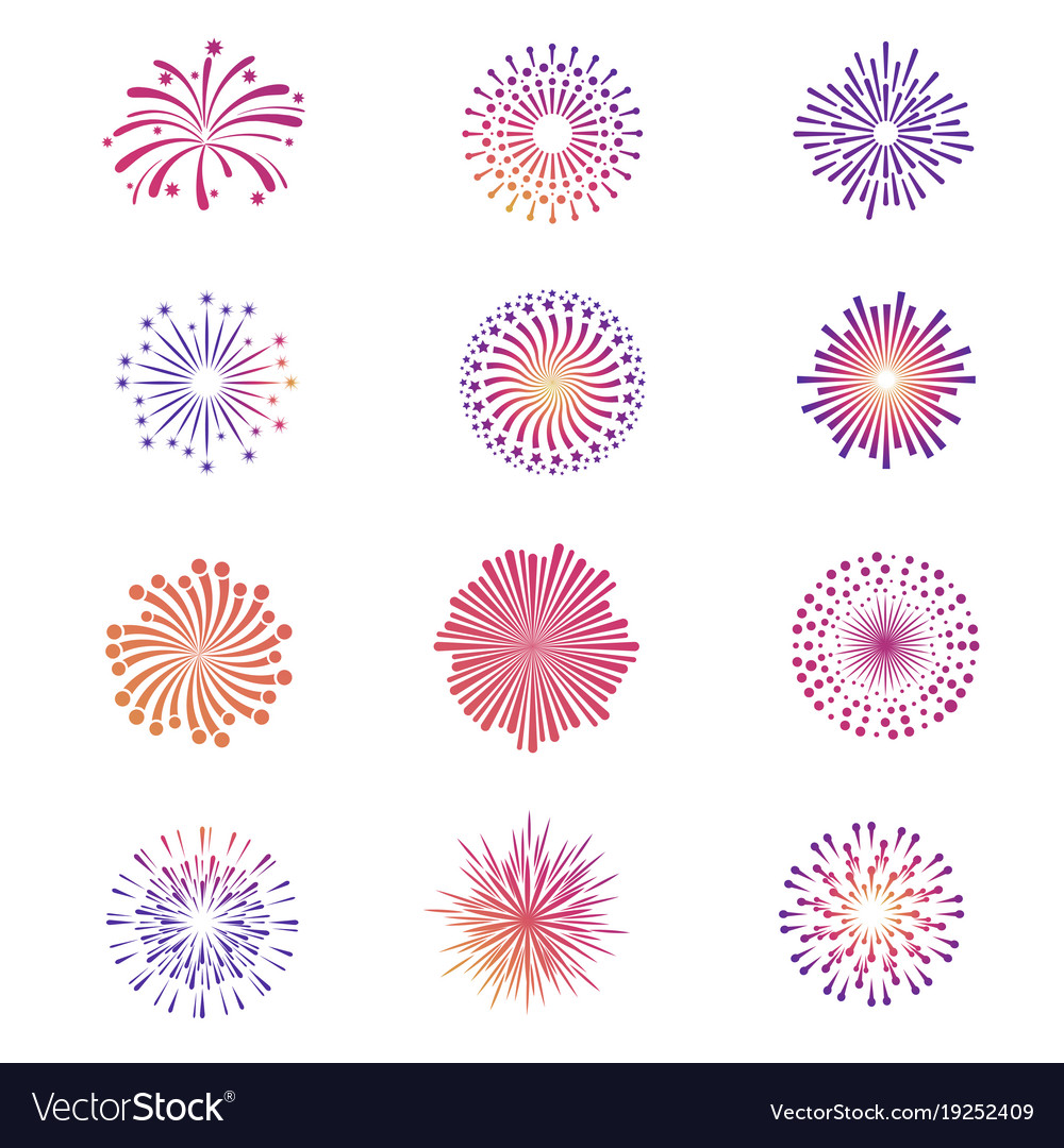 Bright festive fireworks star explosion