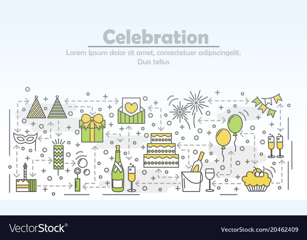 Celebration event agency advertising flat vector image