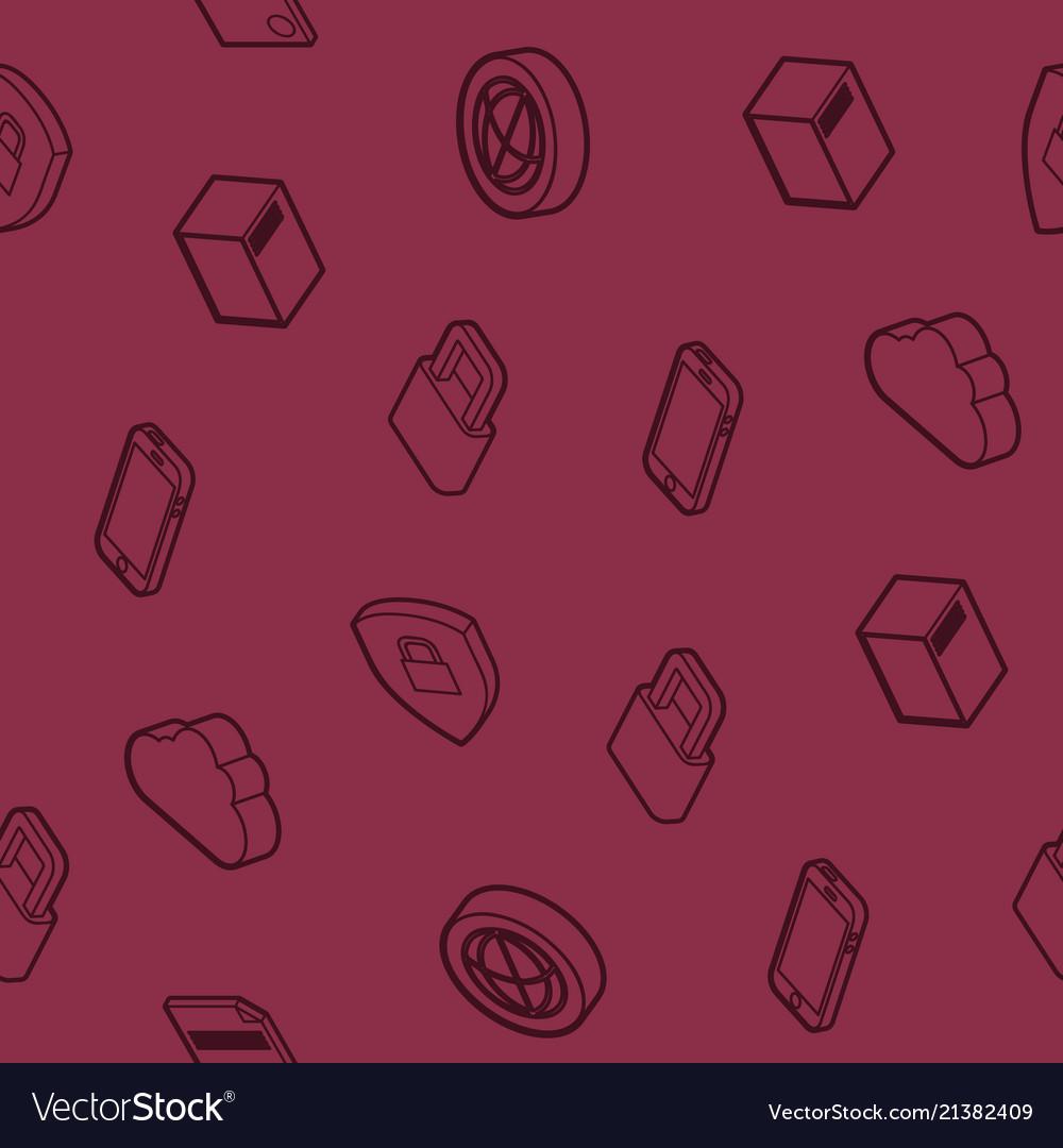 Data center outline isometric pattern