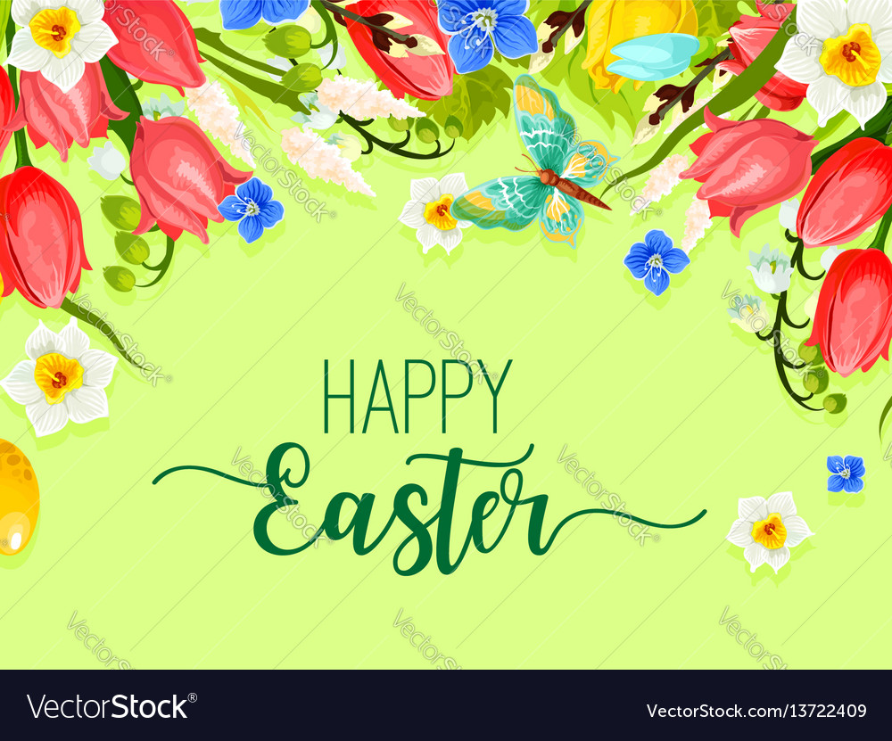 Easter happy holiday greeting card flowers vector image