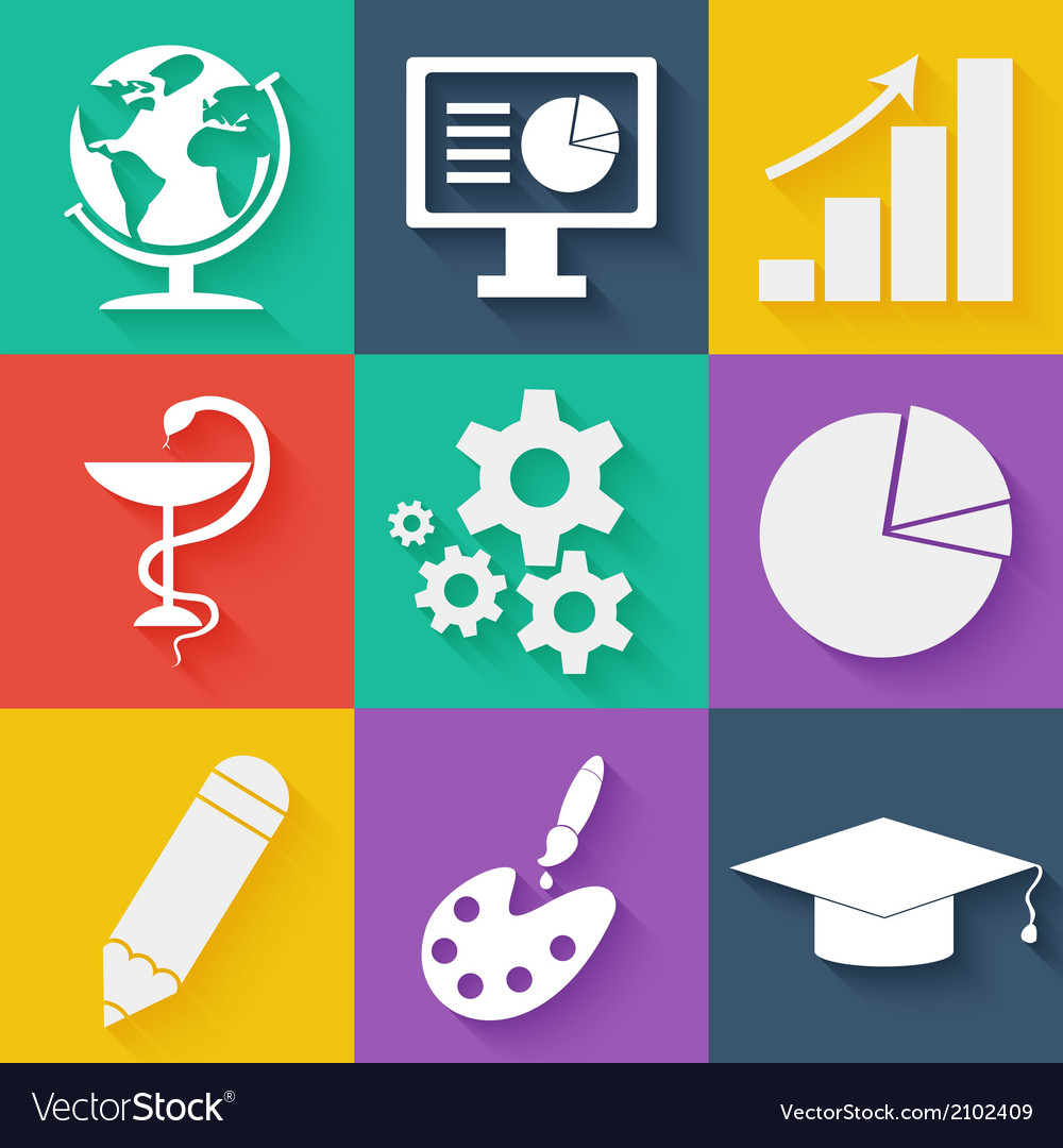 Flat white business and education icons set