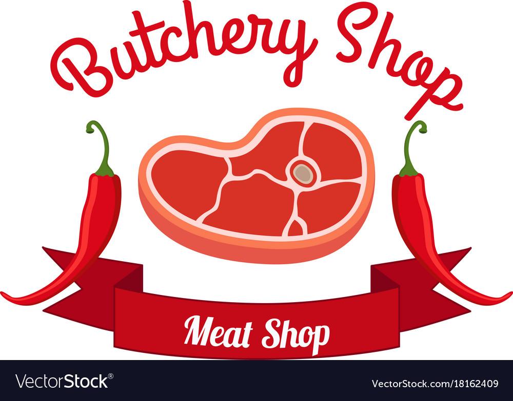 Fresh meat pepper label logo farm product
