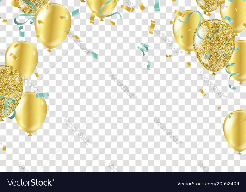 gold balloons confetti and streamers royalty free vector