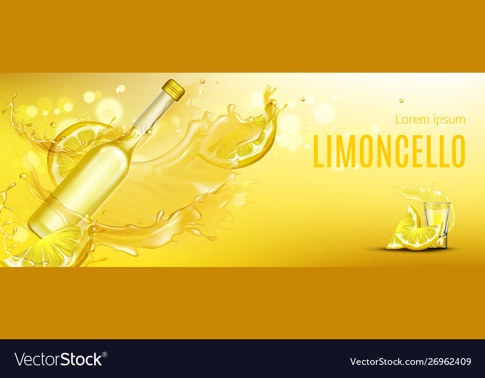 Limoncello bottle and shot glass mock up drink