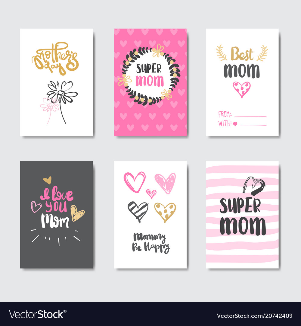 Mothers day cute greeting cards collection