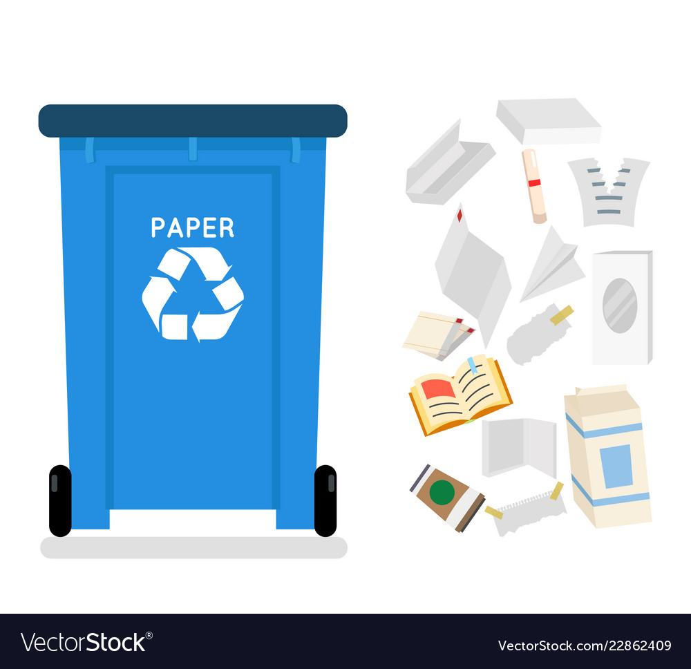 Paper recycling garbage can trash isolated flat