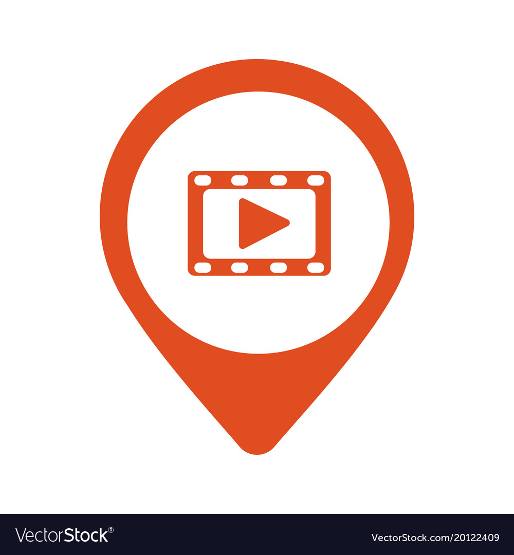 Play video red square pointer web icon