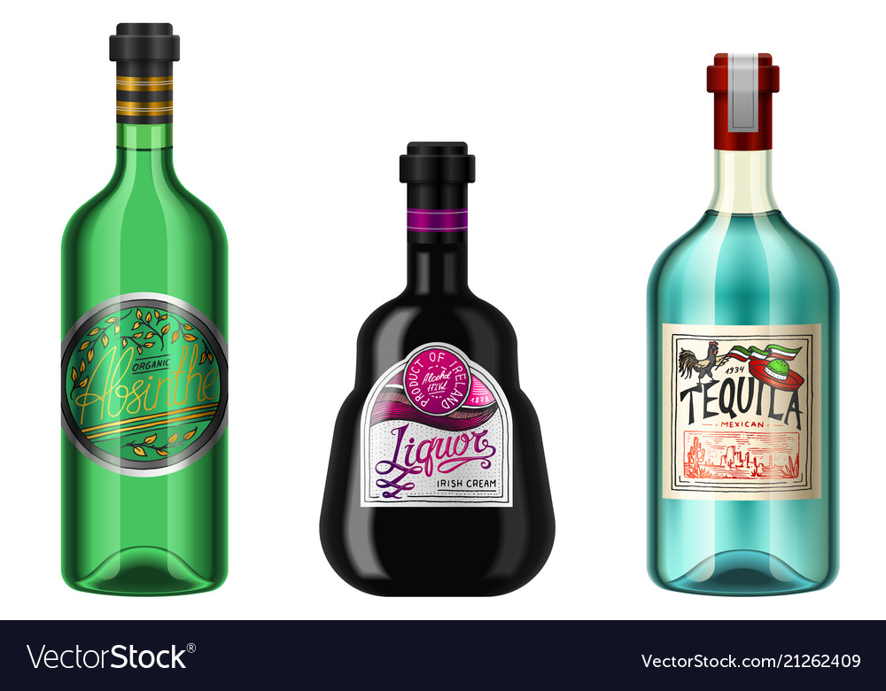 Realistic alcohol drinks in a bottle with