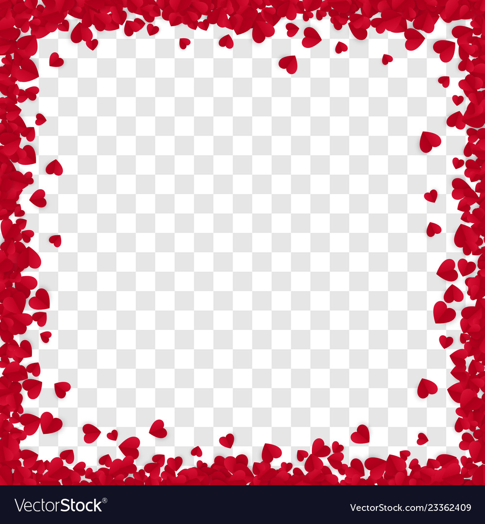 Red paper heart frame background heart frame with